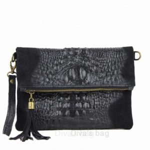 Italian Leather Black Clutch/shoulder Bag