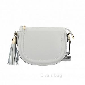 Italian Leather Rounded Crossbody Bag in Grey