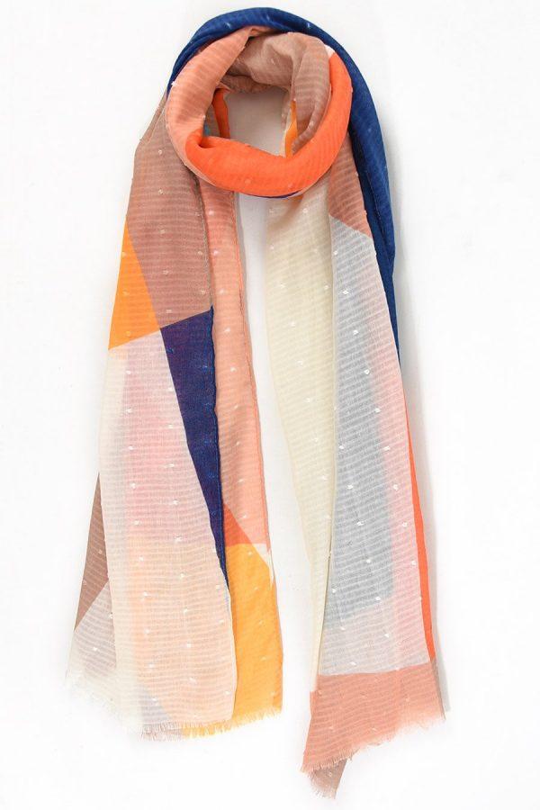 Womenis scarf in geometric shatter design