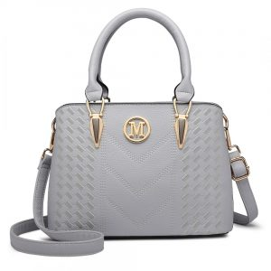 Miss Lulu Weave Look tote Bag in Grey