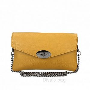 Italian leather shoulder/crossbody and cltch bag in mustard