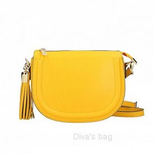 Italian Leather Rounded Crossbody Bag in Yellow