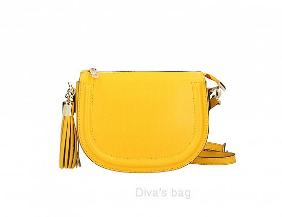cd7ba9603 Italian Leather Rounded Crossbody Bag with Tassel in Yellow ...