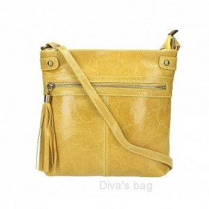 Italian Leather Shoulder & Crossbody bag in yellow