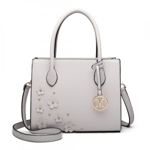 Miss Lulu Grab Bag with Embellished Flowers in Grey