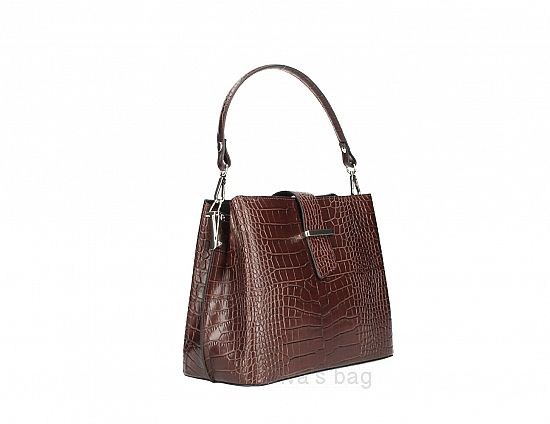Italian Leather Handbag in Croc Design