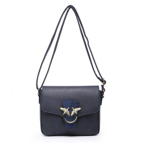 Navy Crossbody Bag/Shoulder bag with bee design