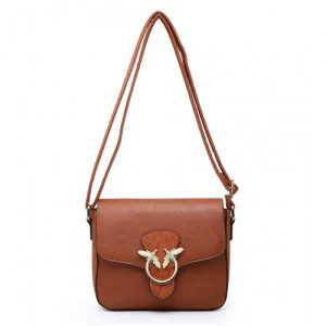Tan crossbody bag/shoulder bag with bee clasp