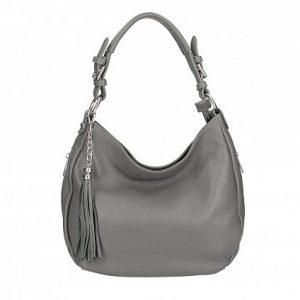 Italian Leather Grey Handbag with Tassel