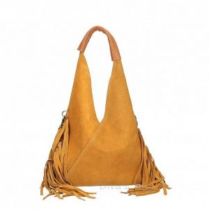 Italian Suede Fringed Bag in Cognac