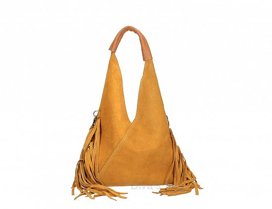 Italian Suede Fringed Bag in Cognac