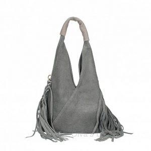 Italian Suede Bag in Grey