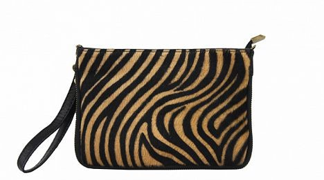 Italian leather zebra print clutch bag