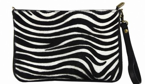 Italian leather clutch/crossbody bag in zebra print