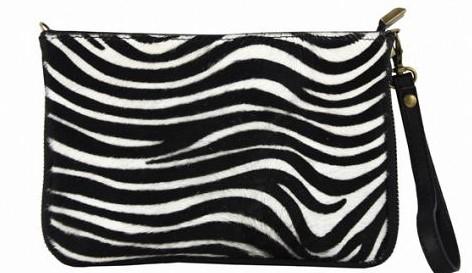 Italian leather clutch/crossbody bag in zebra print