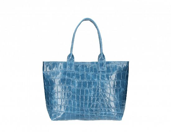 Italian Leather Mock Croc Shopper
