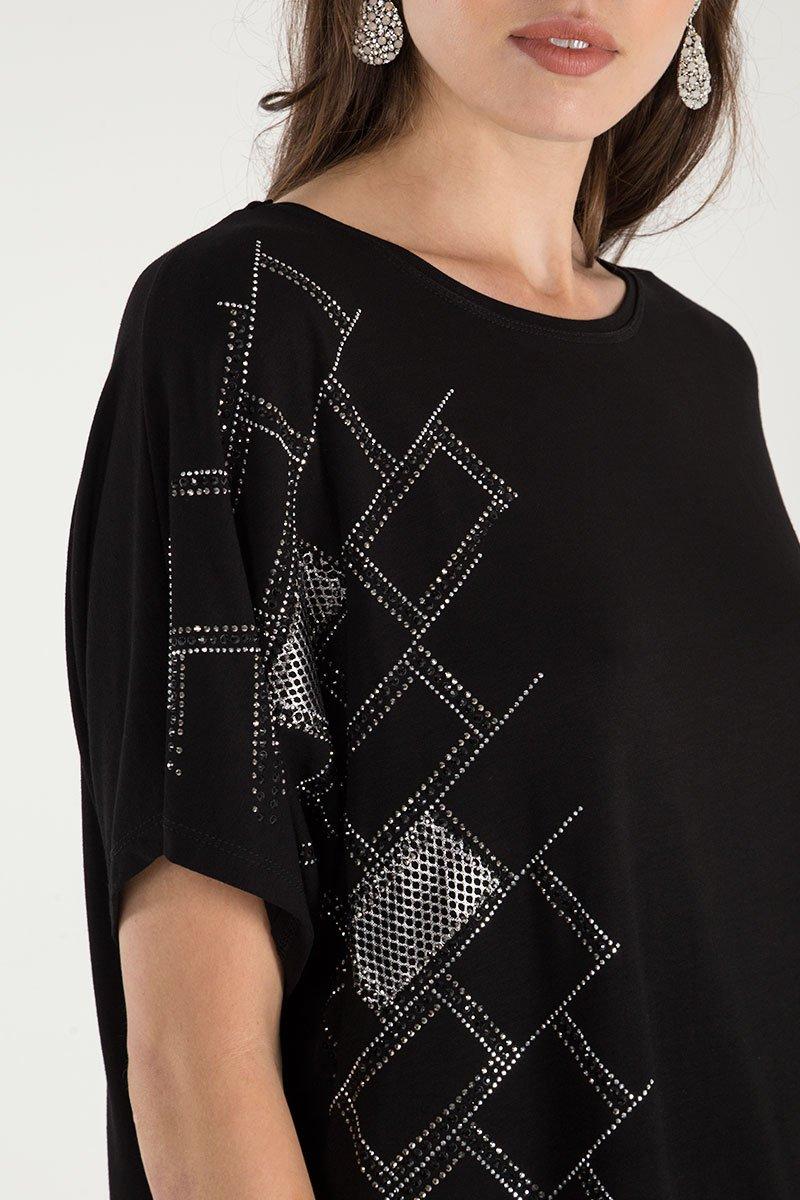 Diamnte Side Detail Oversize T-Shirt