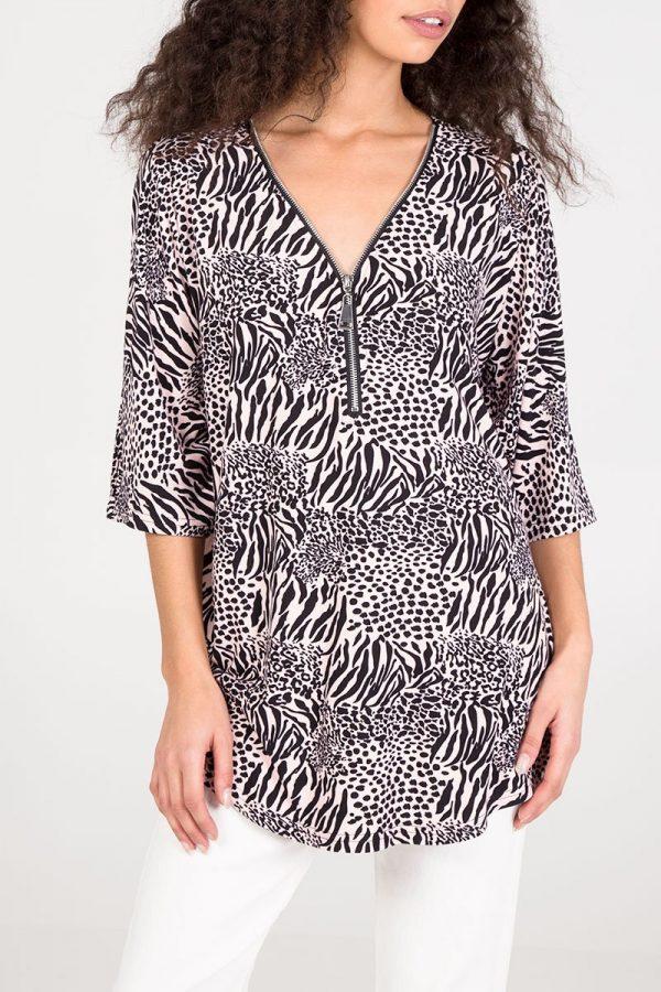 Animal print zip top