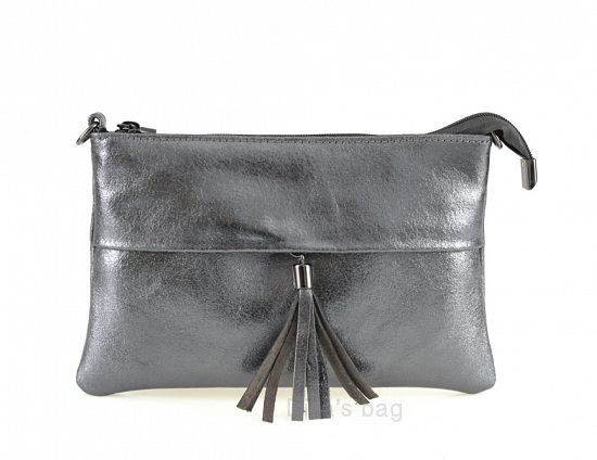 Italian Leather Gun Metal Clutch