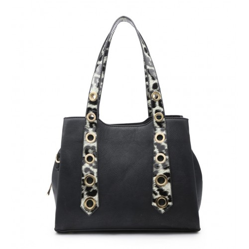 Moda Black Handbag with Leopard Print Straps