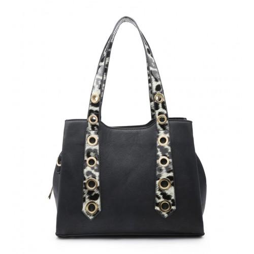 Moda Black Handbag with Leopard Print Straps