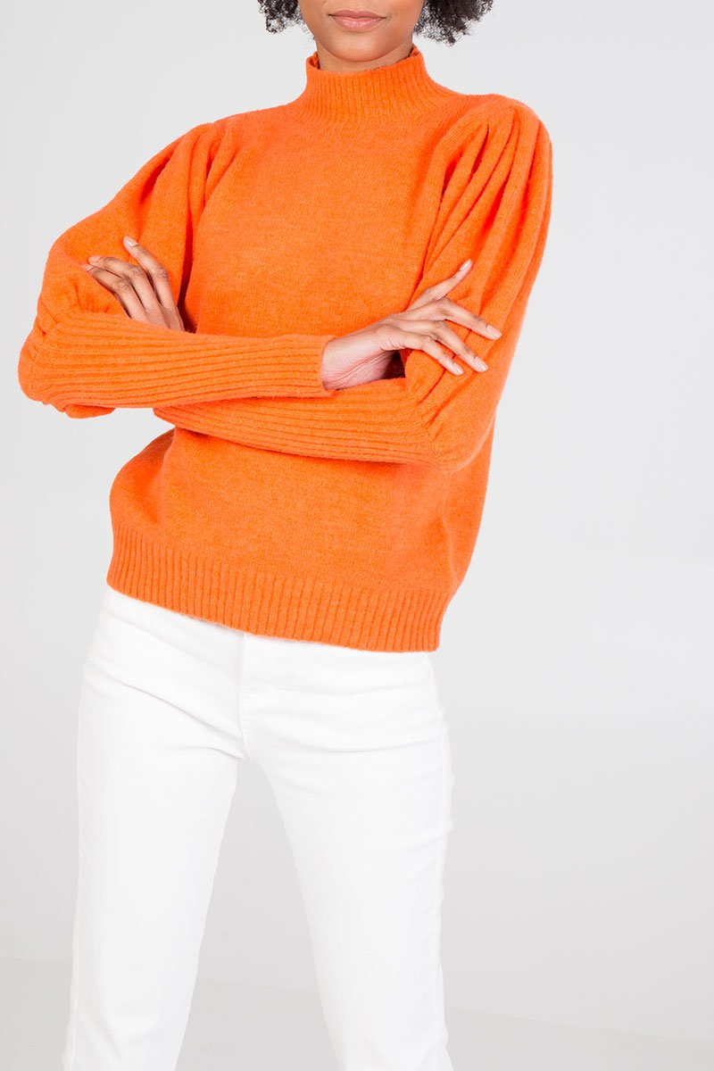 Puff sleeve jumper in orange