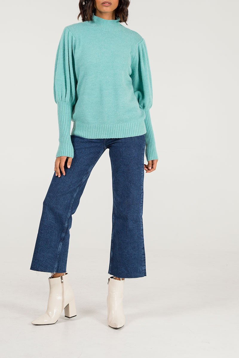 Puff sleeve jumper in mint