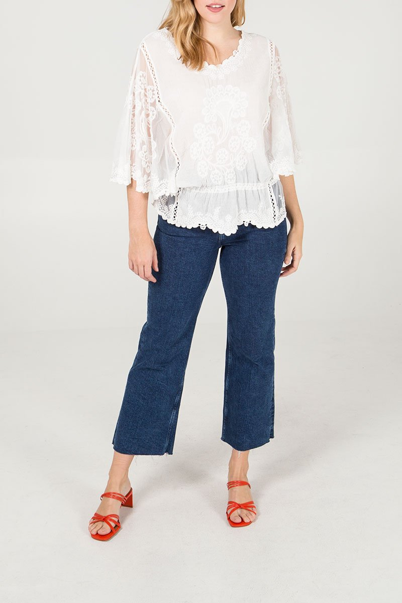 White Hand Embroidered Paisley Top