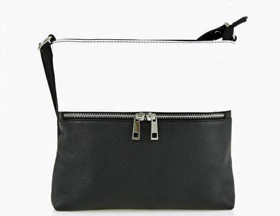 Italian leather black & white crossbody bag