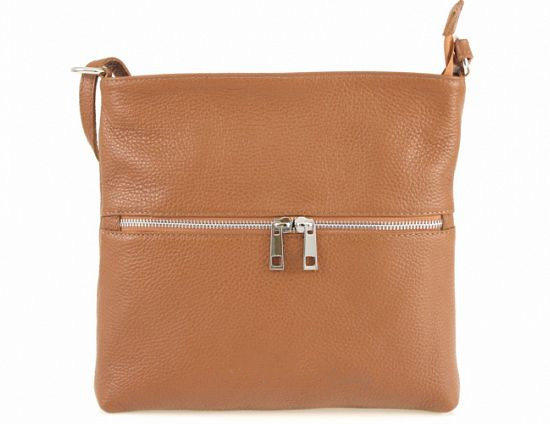 Italian Leather crossbody bag in cognac