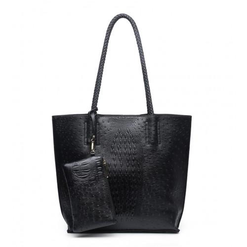 Moc croc fashion shopper in black