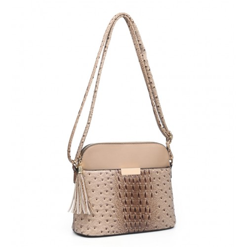 Moc Croc Crossbody Fashion bag in Apricot