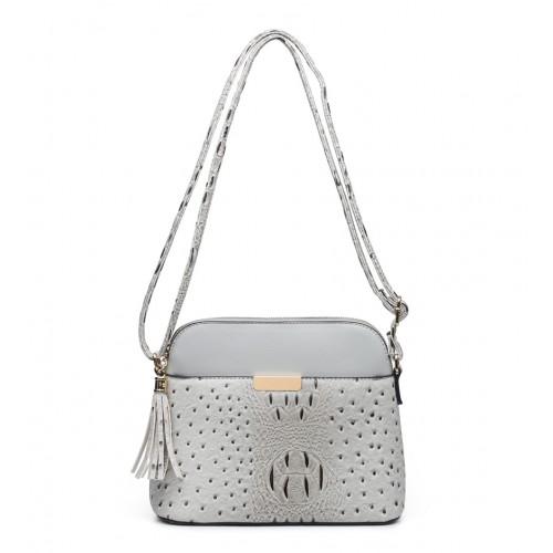 Moc Croc Crossbody Fashion bag in Grey