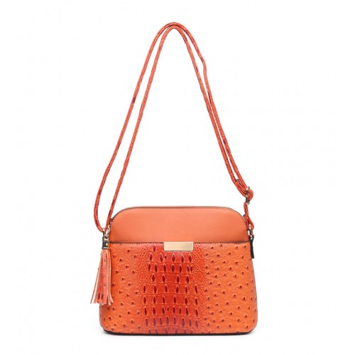 Moc Croc Crossbody Fashion Bag in Orange