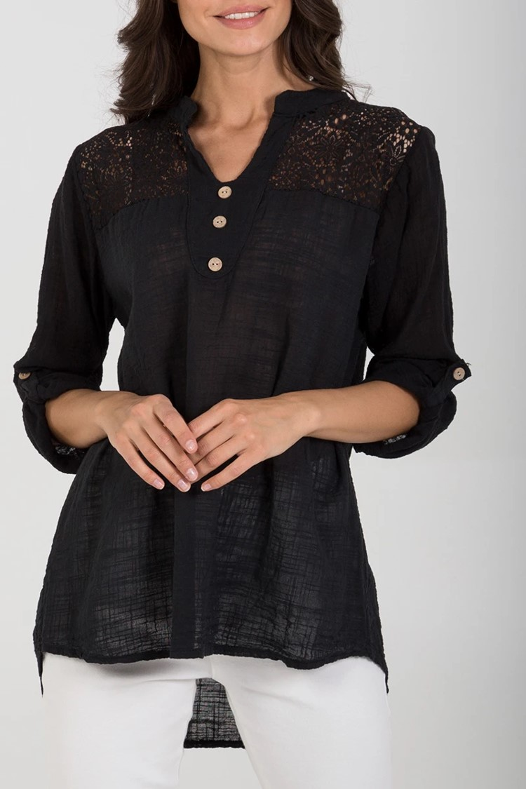 Cotton & Lace Button Detail Top in Black