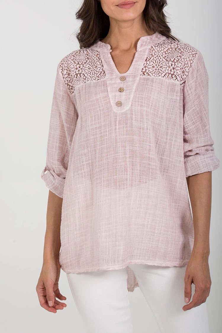 Cotton & Lace Button Detail Top in Pink