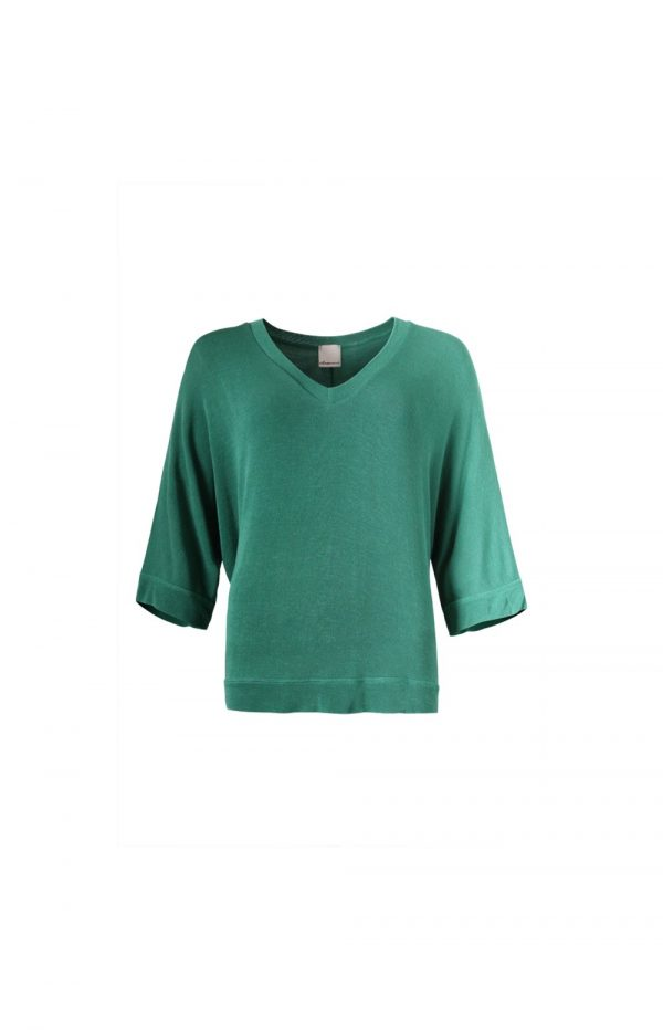 Green Light Knit VNeck Batwing Sleeve Top