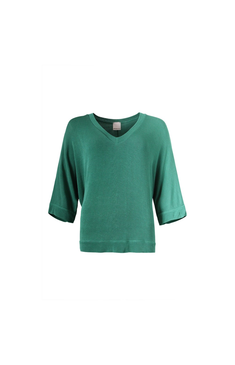 Green Light Knit VNeck Batwing Sleeve Top