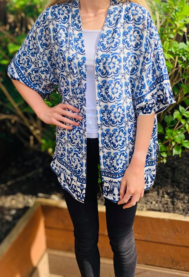Moroccan Tile Print Kimono Blue