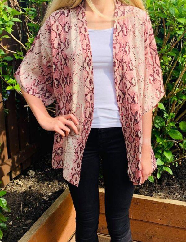 Snake Print Kimono in Pink