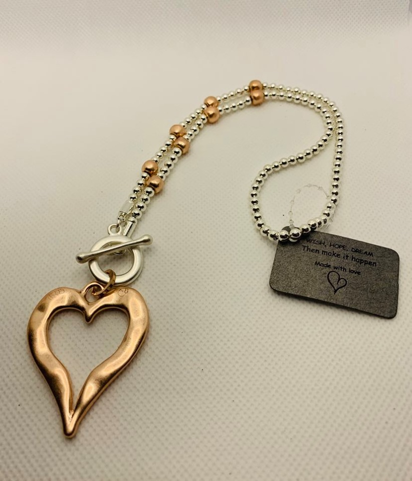 Silver & Rose Short Heart Fashion Necklace