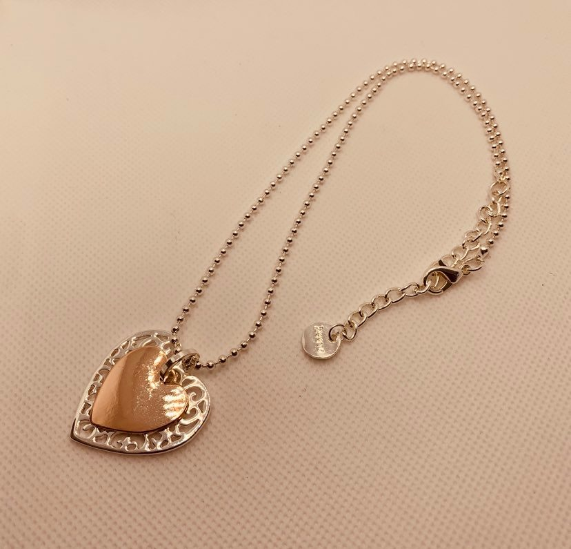 Silver & Rose Short Double Heart Fashion Necklace