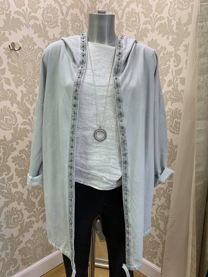 Hooded Jacket with Floral Detail Back