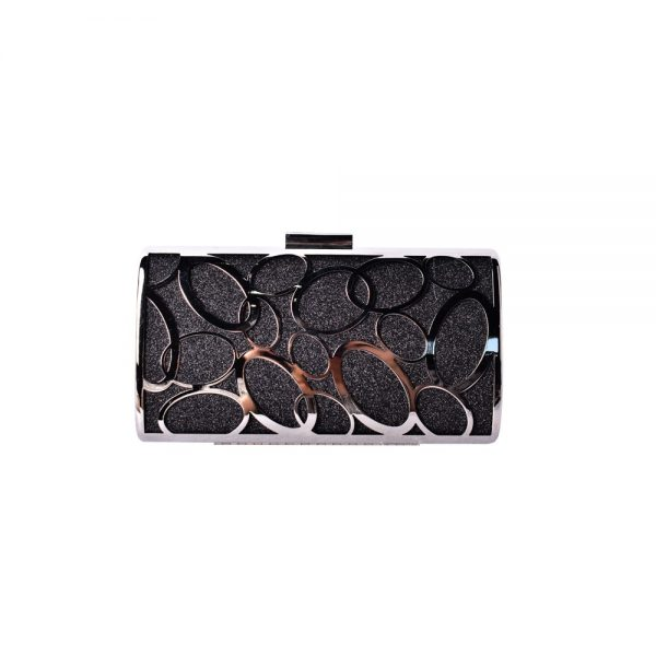Black & Silver Evening Bag with Circle Design