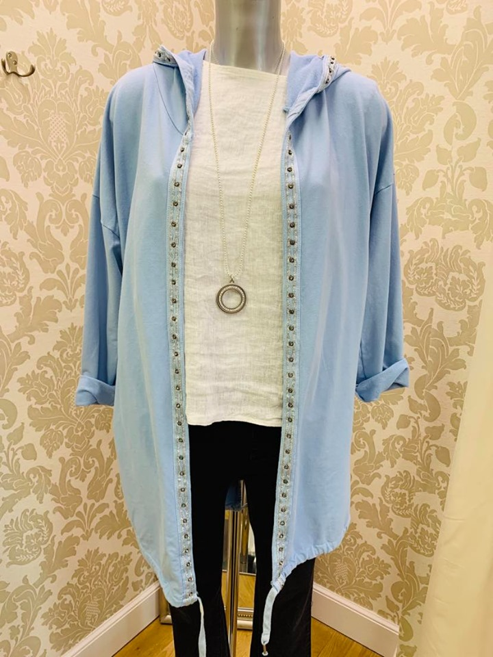 Hooded Jacket with FLoral Detail Back in Pale Blue