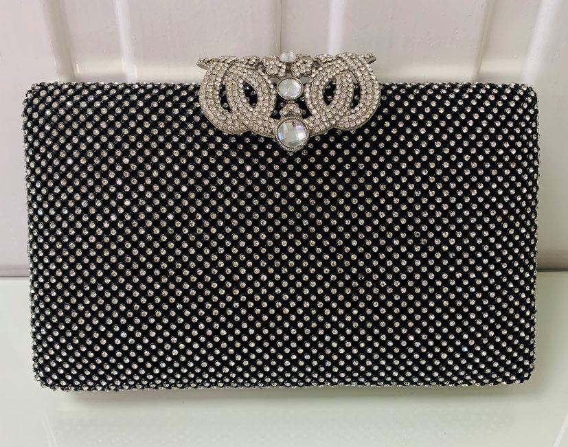 Black Evening Bag with Crystal Clasp