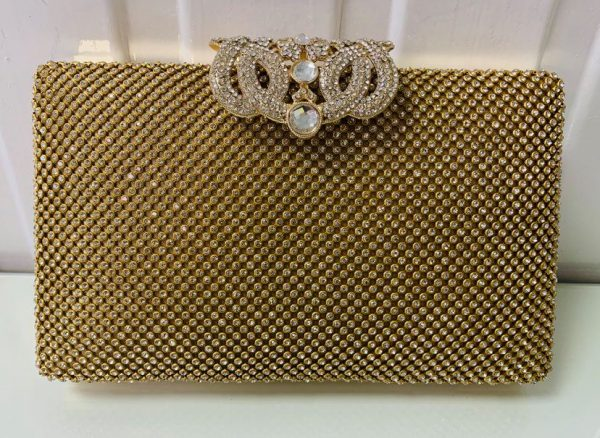 Gold Evening Bag with Crystal Clasp