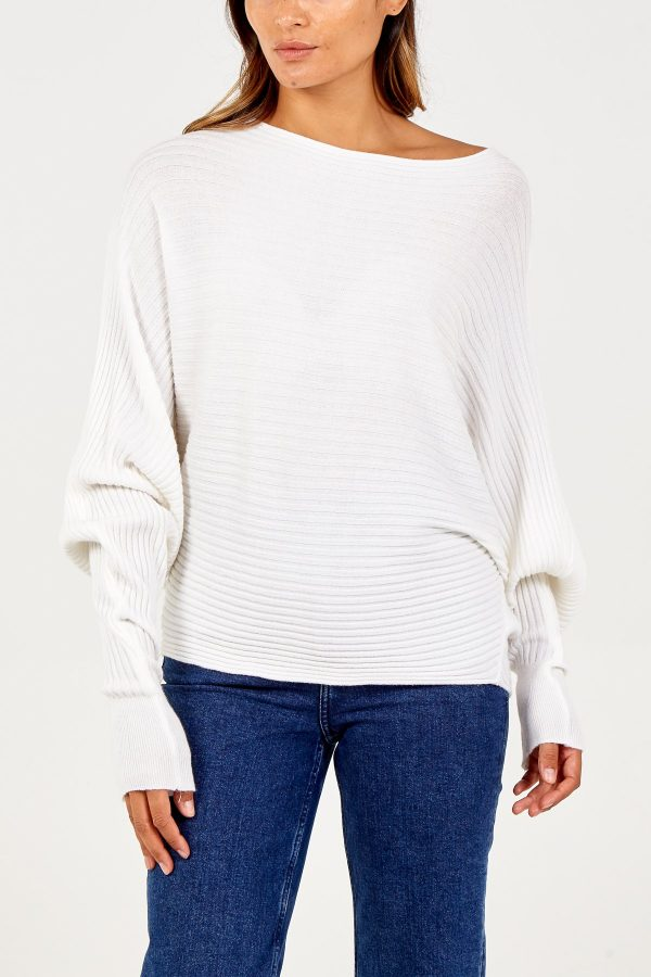 Batwing Ribbed Jumper in Cream