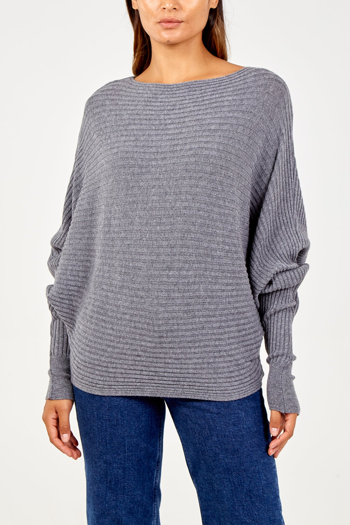 Batwing ribbed Jumper in Grey